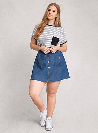 Chambray Button Front Mini Skirt Medium Wash Plus Size Fashion For Curvy Engineers I 39 M A