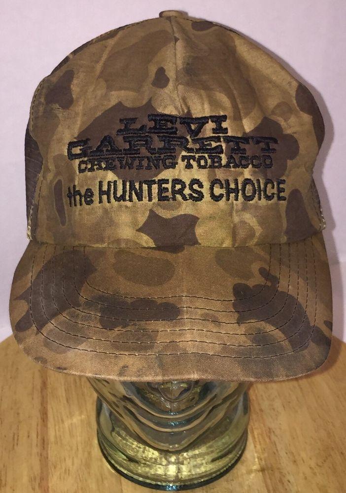 3fc70fa7841 LEVI GARRETT Chewing Tobacco Hunters Choice Camo Trucker Hat Cap Snapback  80s