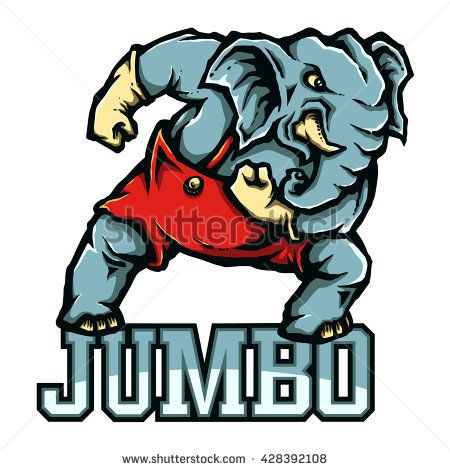 Vector Mascot Of Strong Elephant Ready To Fight Elephant Drawing