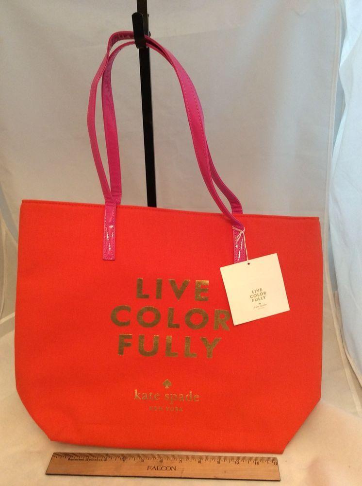 "e426225f2d7a6 KATE SPADE Orange Canvas ""Live Color Fully"" Pink Shoulder Strap Tote Bag w   tag  katespadenewyork  TotesShoppers"