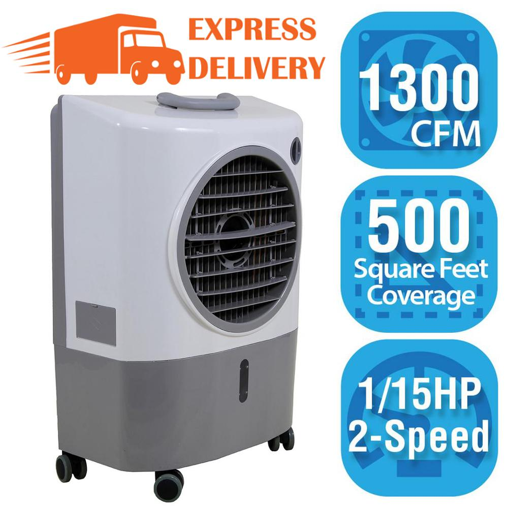 Hessaire 1 300 Cfm 2 Speed Portable Evaporative Cooler Swamp Cooler For 500 Sq Ft Mc18m The Home Depot Evaporative Cooler Swamp Cooler Evaporative Air Cooler