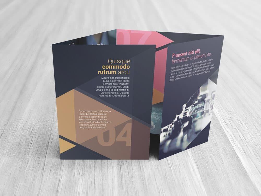 Large Double Gate Fold Brochure Mockups