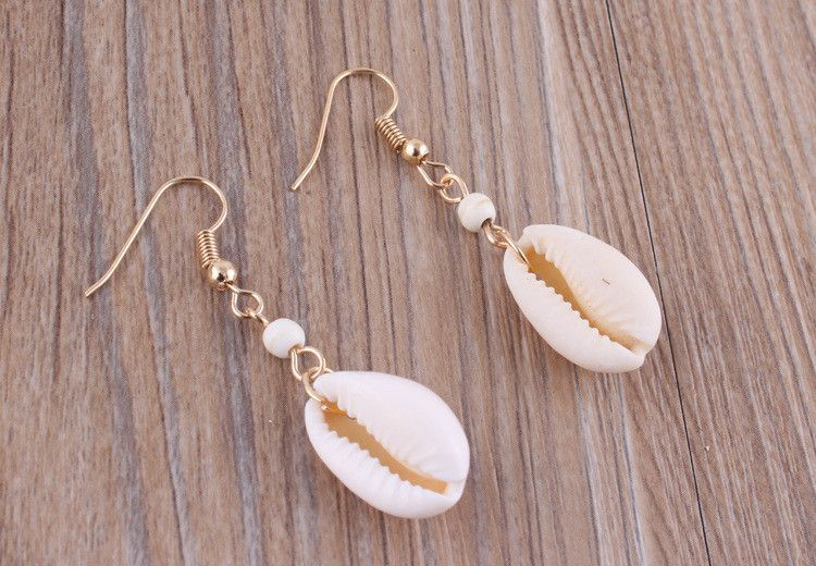 Natural Simple Cowrie Shell Hook Dangle Earrings For Women Fashion Jewelry