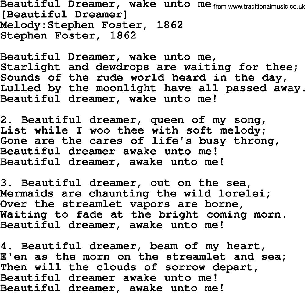 Old American Song Lyrics for Beautiful Dreamer, Wake
