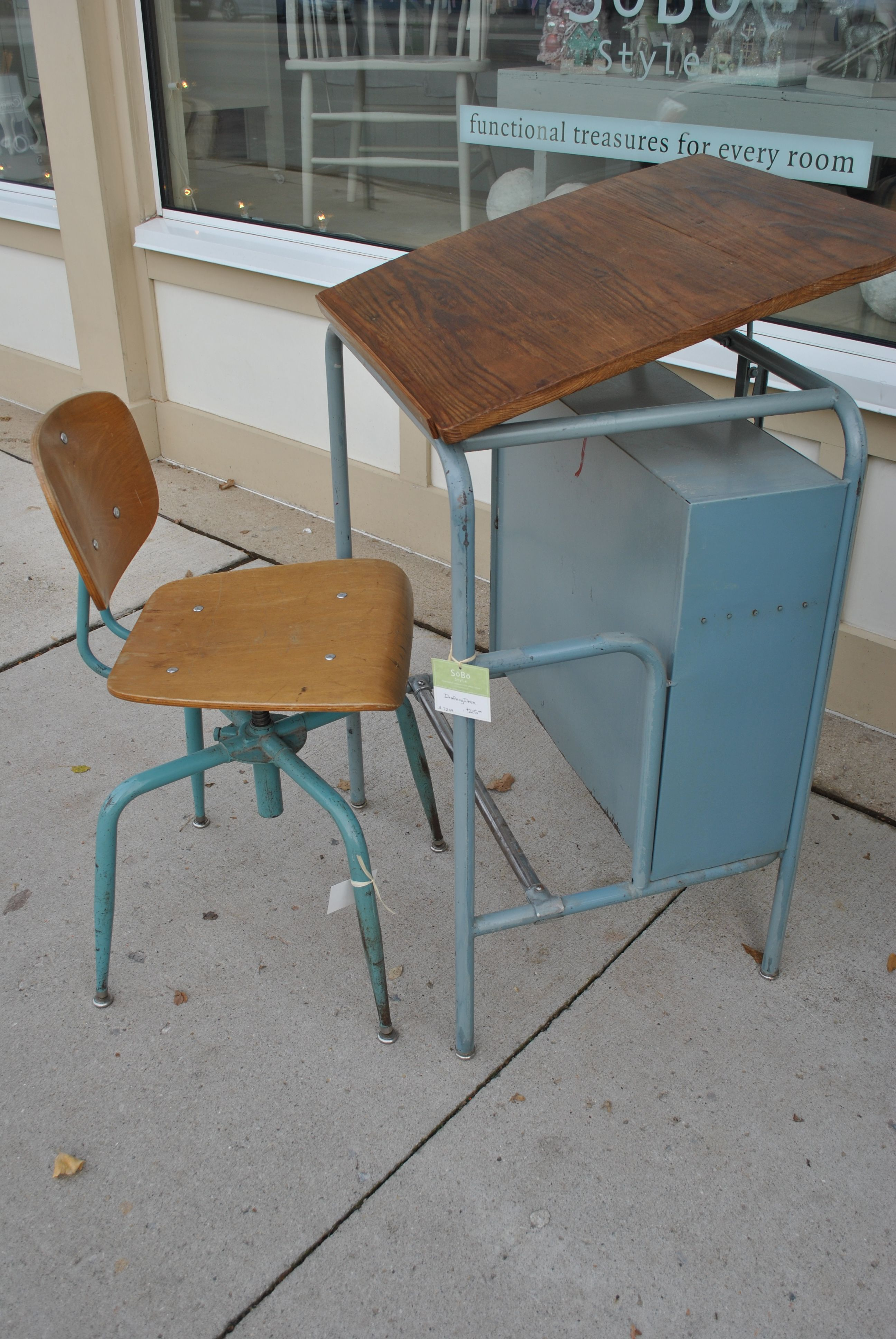 Vintage Drafting Table With School Chair.