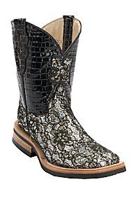Ferrini 174 Ladies Gold Silver Black Lace Floral Cowgirl Cool