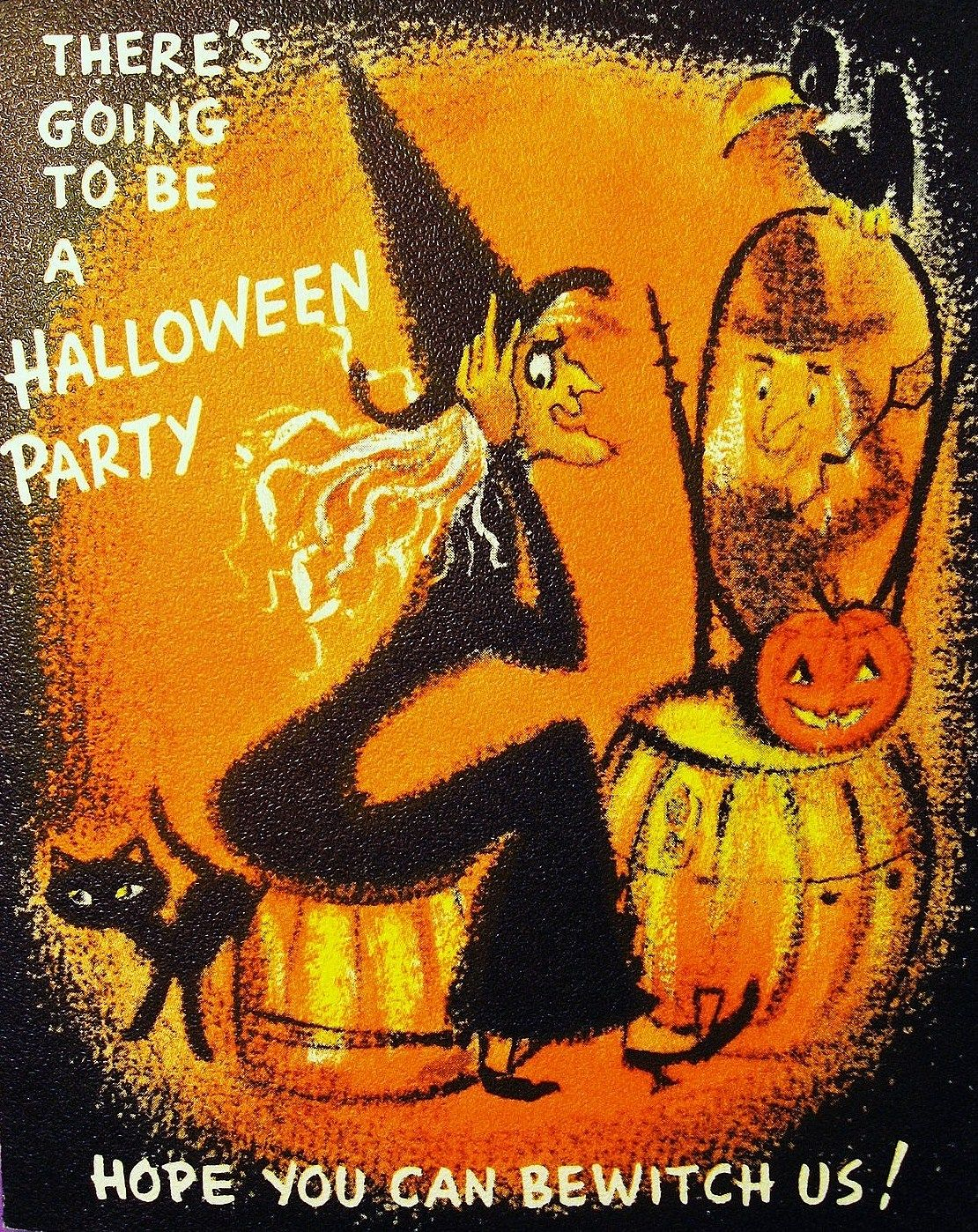 Vintage Halloween Party Card Oh I LOVE The Kitschy Witchy Graphics That Cat Is