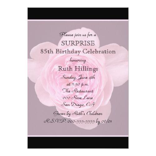 85th surprise birthday party invitation rose pinterest surprise