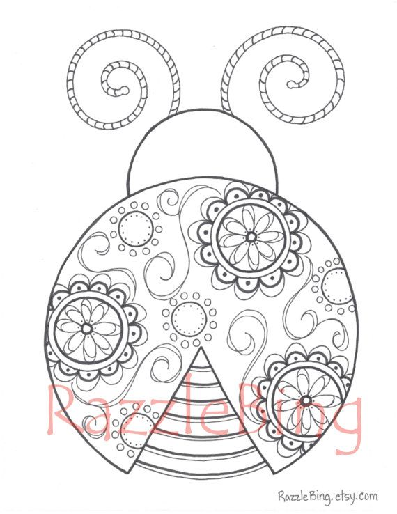 Diy Printable Coloring Page Zentangle Inspired Lady Bug Etsy Ladybug Coloring Page Coloring Pages Printable Coloring Pages