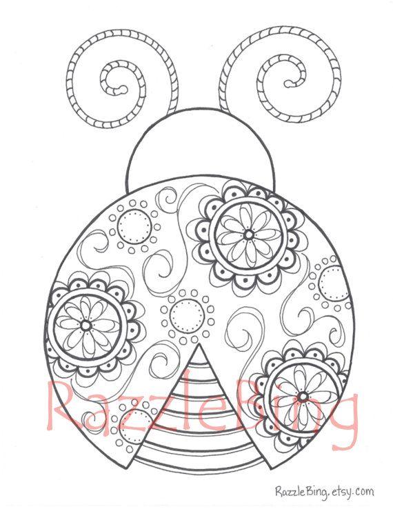 Diy Printable Coloring Page Zentangle Inspired Lady Bug Swirl Zendoodle Ladybug Doodle Pdf Instant Download Ladybug Coloring Page Coloring Pages Printable Coloring Pages