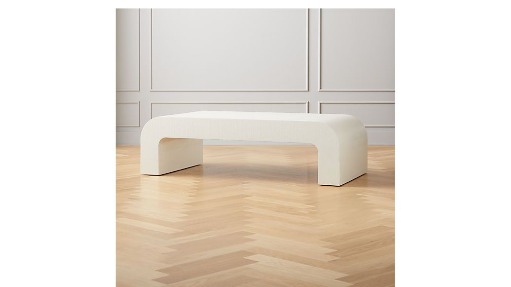 Horseshoe ivory lacquered linen rectangular coffee table