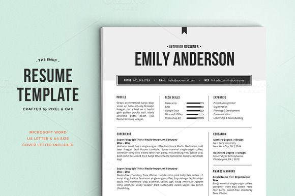 Resume Template  The Emily  Resume Cv Creative And Resume Ideas