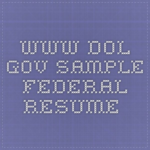 WwwDolGov Sample Federal Resume  Job Hunt Resumes Etc