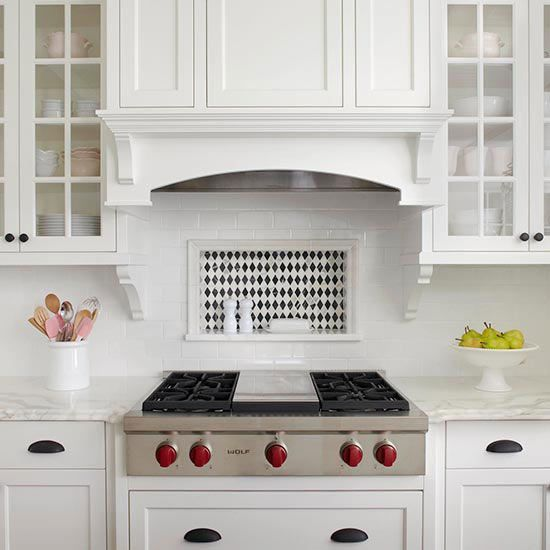 Good Backsplash Storage Niche A Subway Tile Backsplash Surrounds A Rectangular  Niche That Provides Convenient Storage For