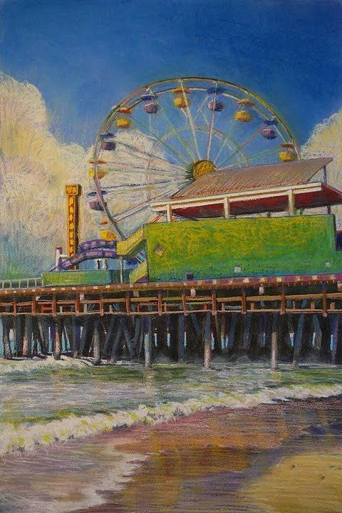 Ferris Wheel Pastel – Spin – and saving a failed watercolor with pastel, DRAWING  ART GALLERY Contem...