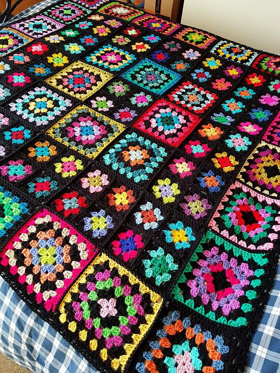 In STOCK Sublime Large Crochet Black GRANNY SQUARES Dolly Blanket ...