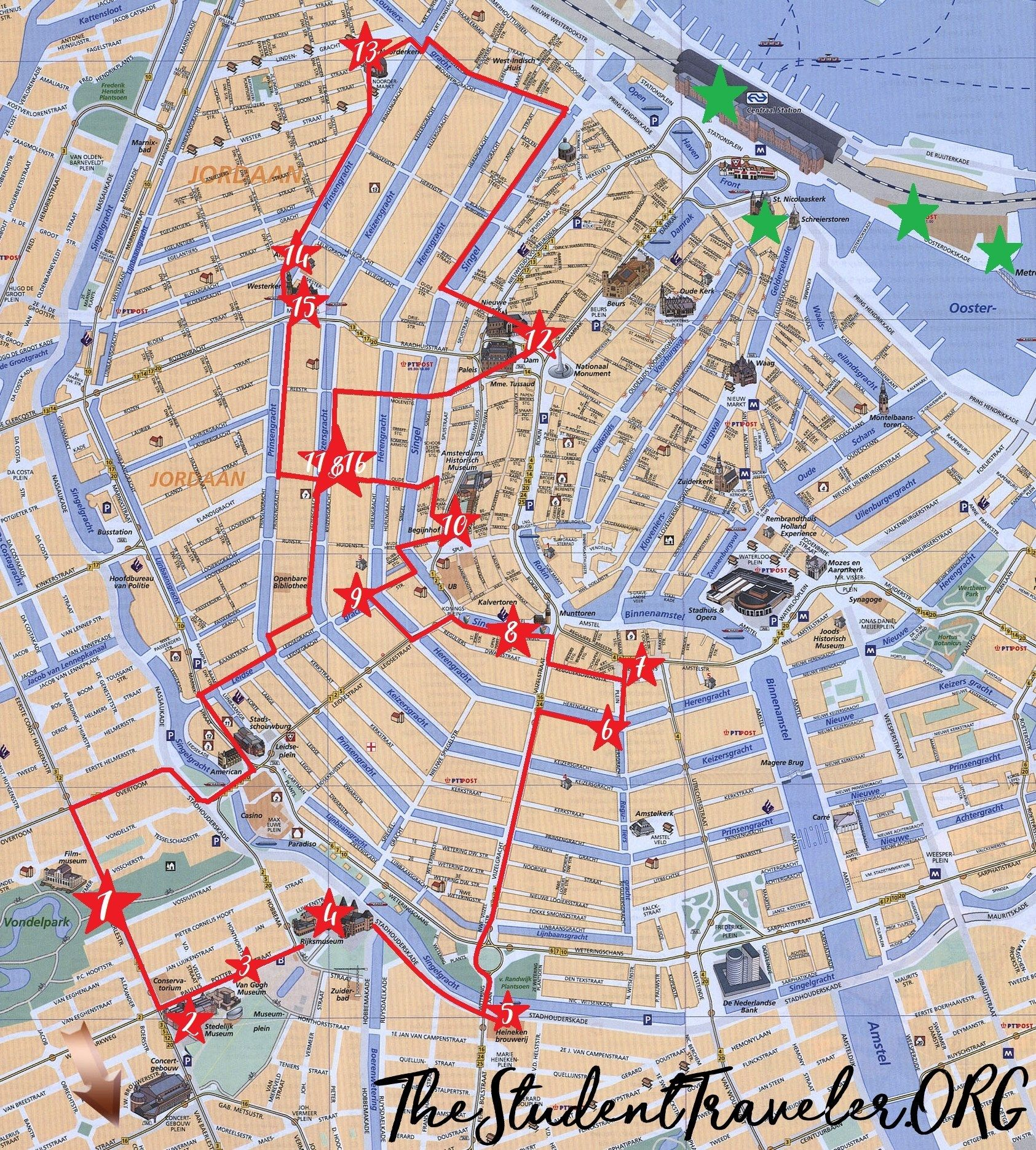 The Ultimate Self Guided Walking Tour Of Amsterdam The Student Traveler Amsterdam Reise Amsterdam Urlaub Amsterdam Tour