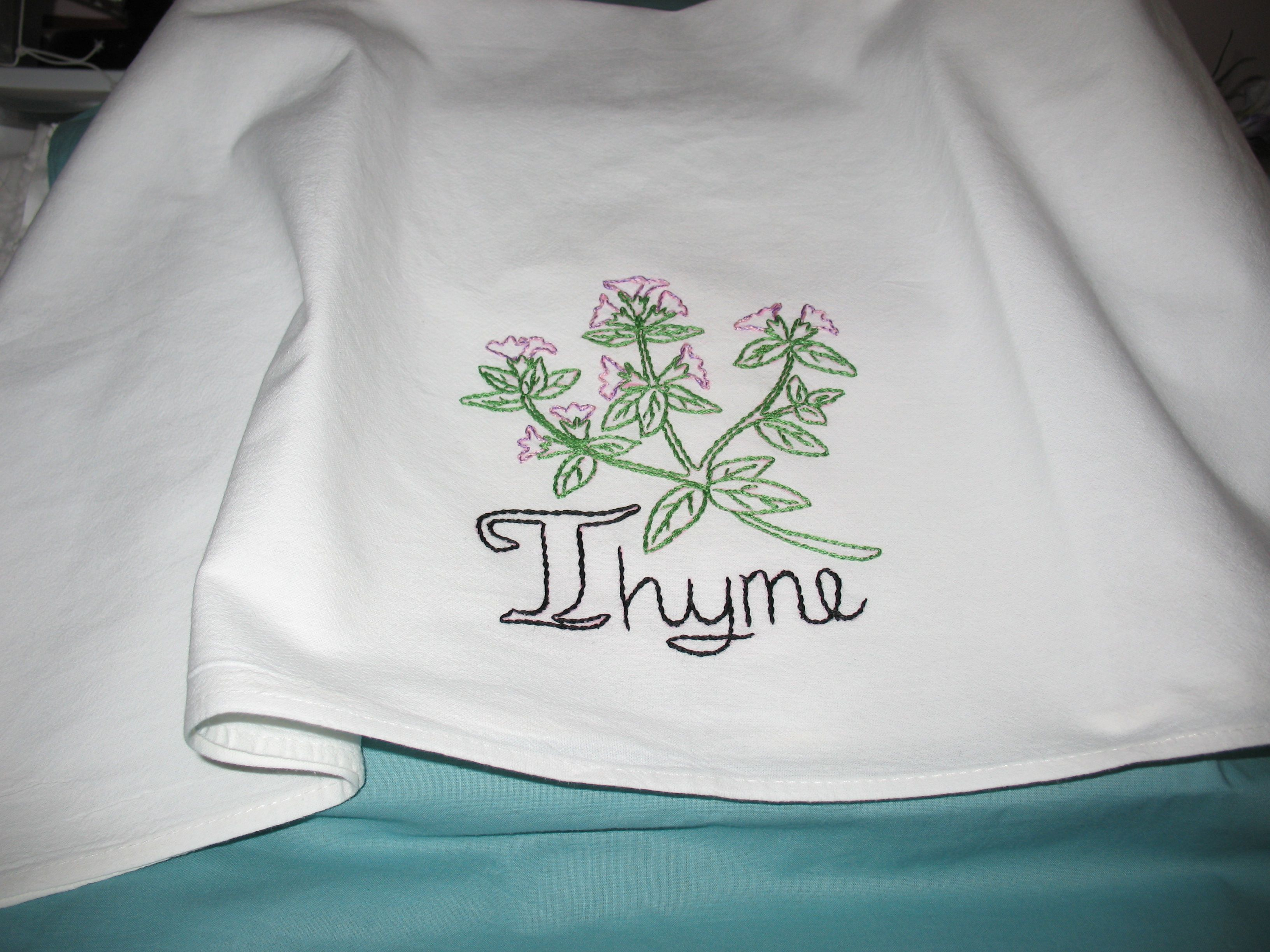 Spice up your kitchen with Thyme embroidered flour sack towel. Use ...