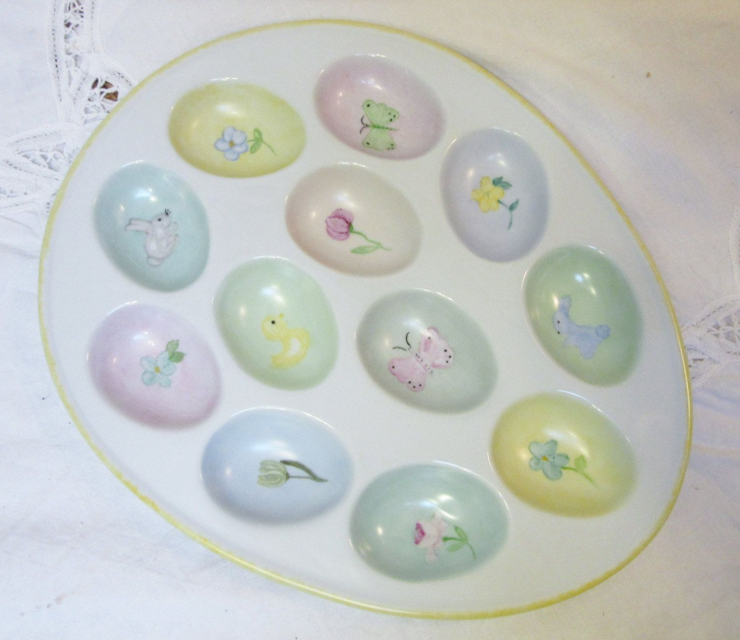 Beautiful Deviled Egg Plate Tray, Porcelain Ceramic, Egg Serving Tray, Easter Egg  Plate Tray Images