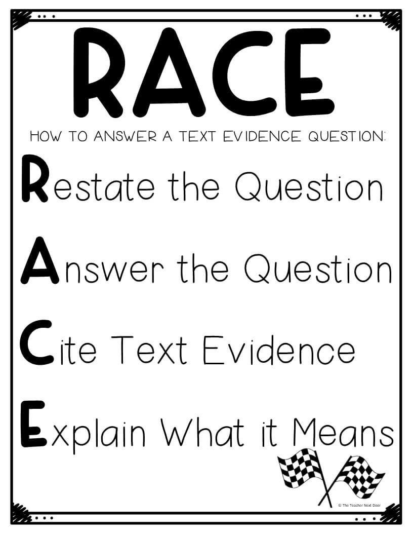 The Teacher Next Door Races Writing Strategy Text Evidence Race Writing [ 1056 x 816 Pixel ]
