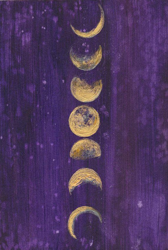 Moon Phases - Moon Art Print - Full Moon - Goddess - Boho - Bohemian Decor - Giclee Print - Girls Room - Space - Night Sky - Stars
