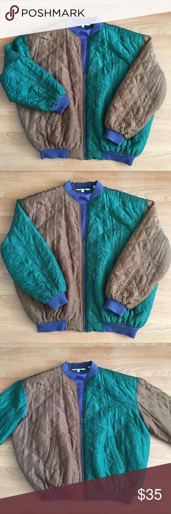 7663e770ce Vintage Perry Ellis color block bomber jacket Great Vintage Perry Ellis  color block quilted bomber style