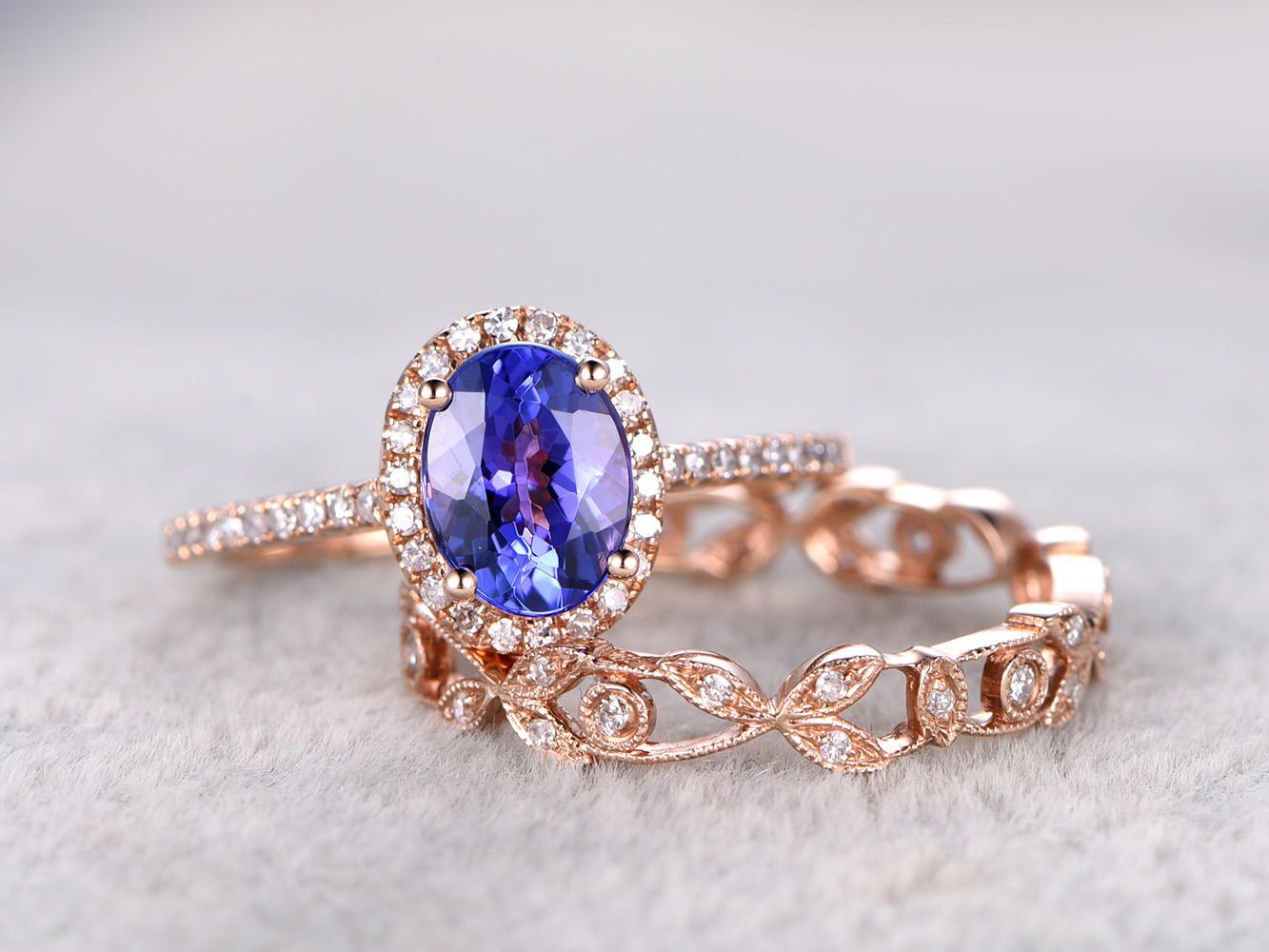 6x8mm Oval Tanzanite Wedding ring setEngagement ring Rose gold