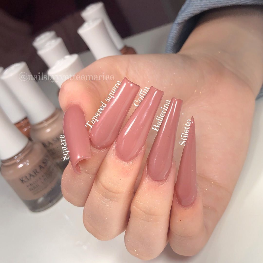 Did You Know The Difference Between Tapered Square Coffin And Ballerina Well Here They Are All In Between Square Feet Nail Design Nails Acrylic Nail Designs