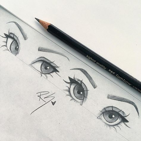 Anime eyes drawings in pencil