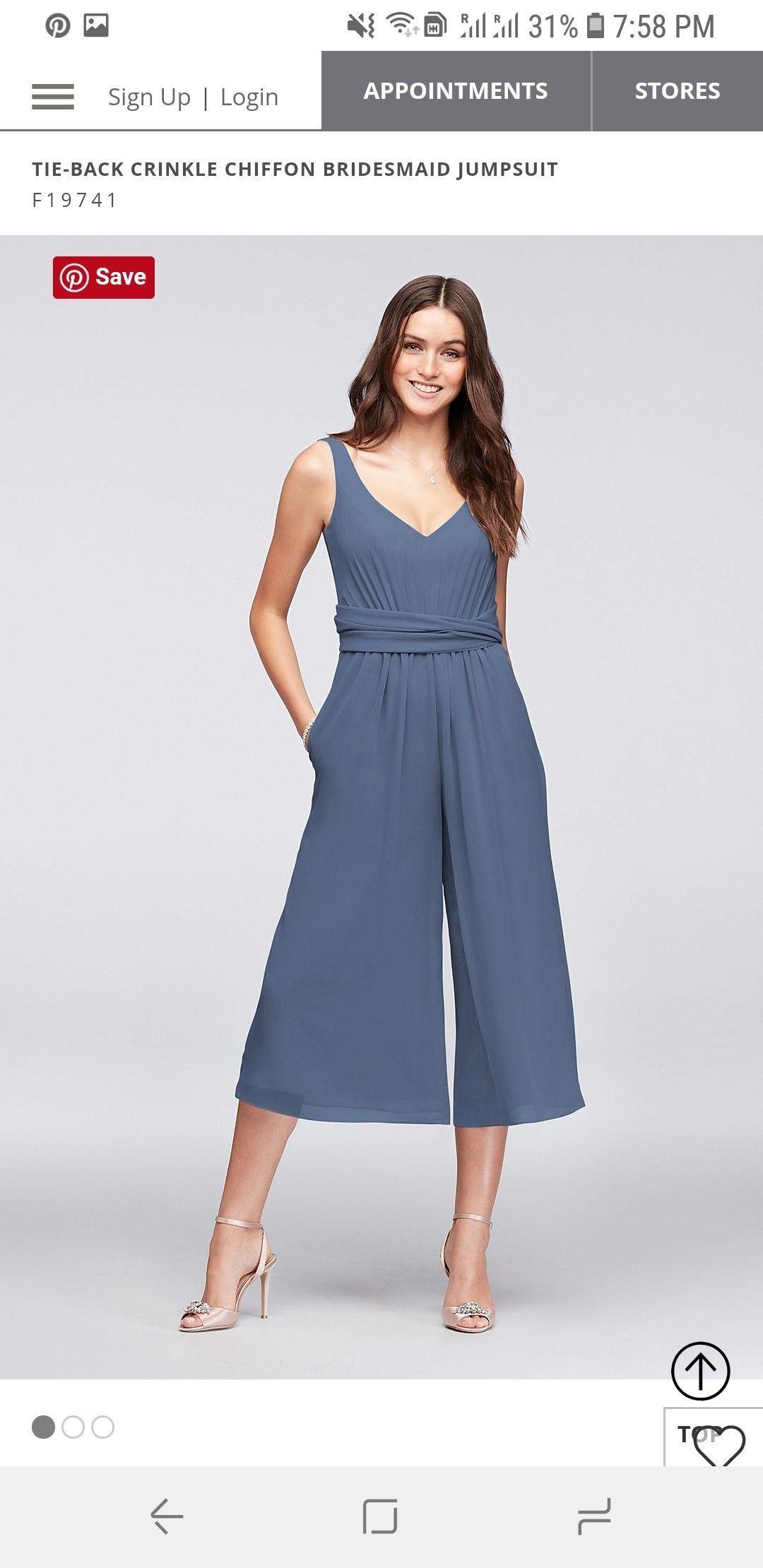 $49.99 - STEEL BLUE - Tie-Back Crinkle Chiffon Bridesmaid Jumpsuit #bridesmaidjumpsuits $49.99 - STEEL BLUE - Tie-Back Crinkle Chiffon Bridesmaid Jumpsuit #bridesmaidjumpsuits