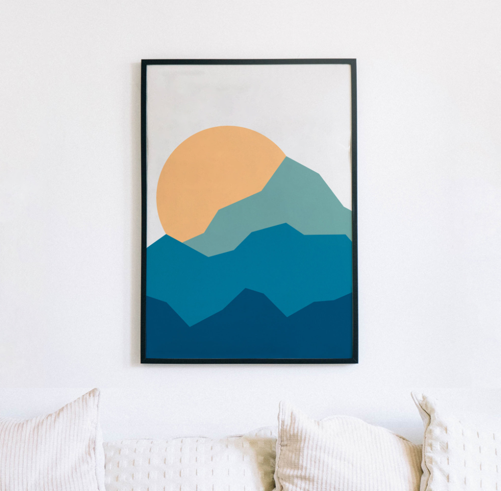 Minimalist Mountains Print   Nordic Modern, Scandinavian, Modern ...