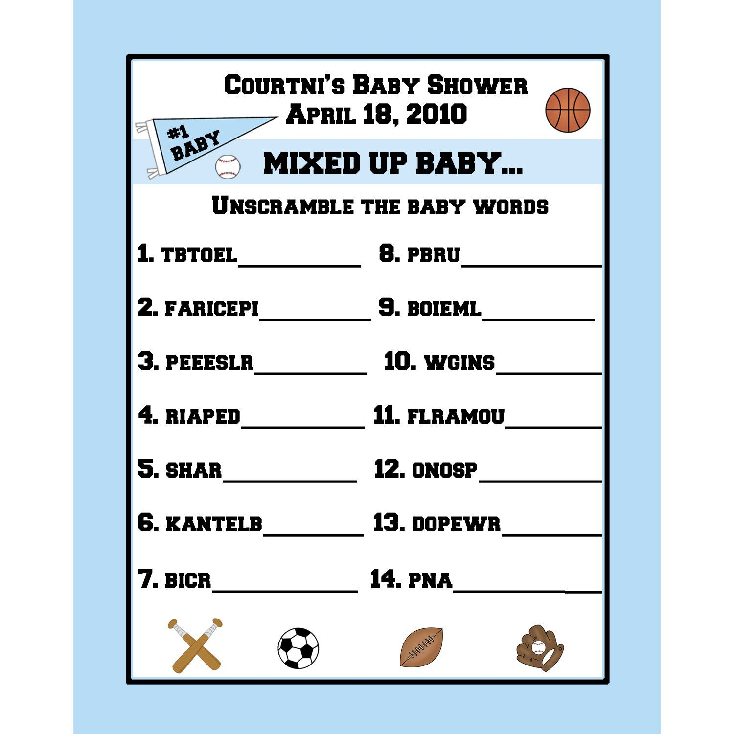 24 personalized word scramble baby shower game cards for Bathroom designs games