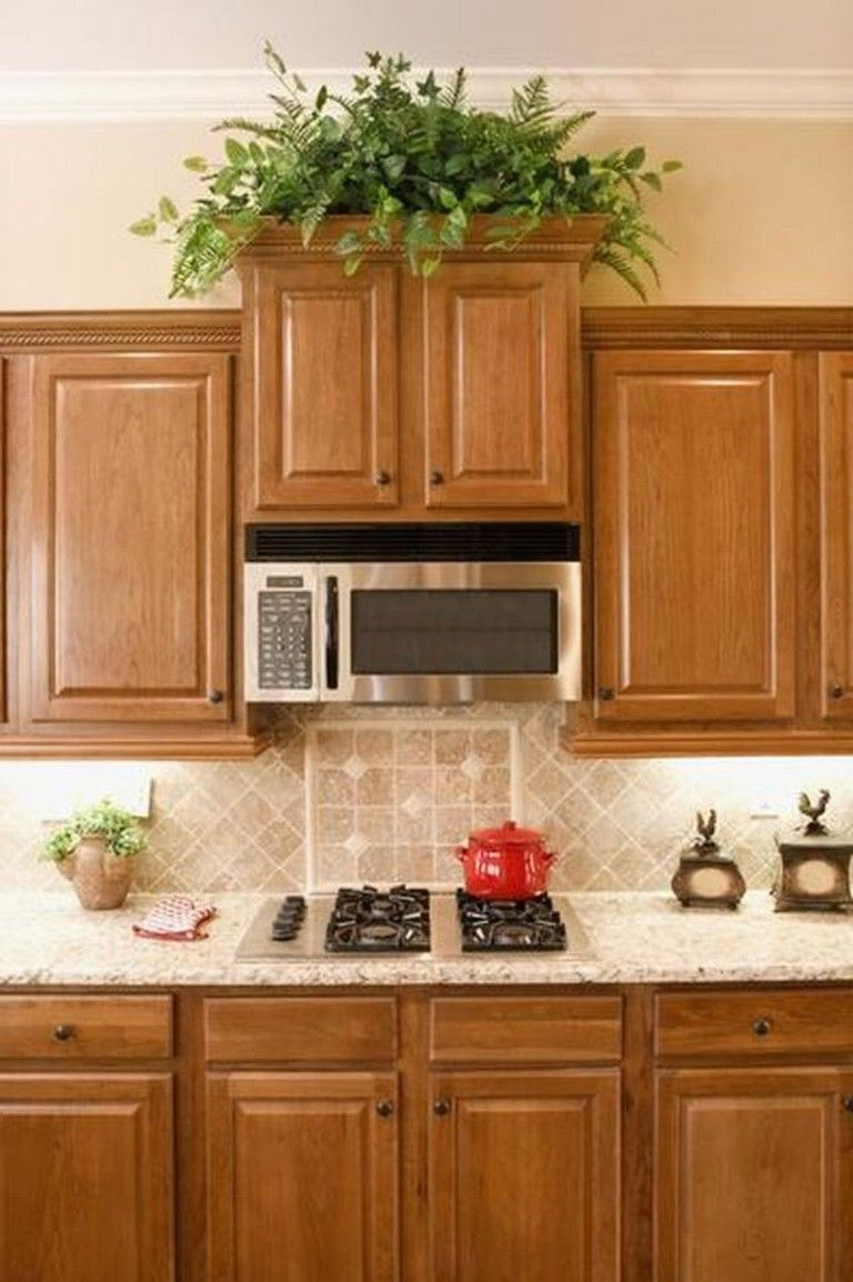 35+ Beautiful Kitchen Paint Colors Ideas with Oak Cabinet | Above kitchen cabinets, Honey oak ...