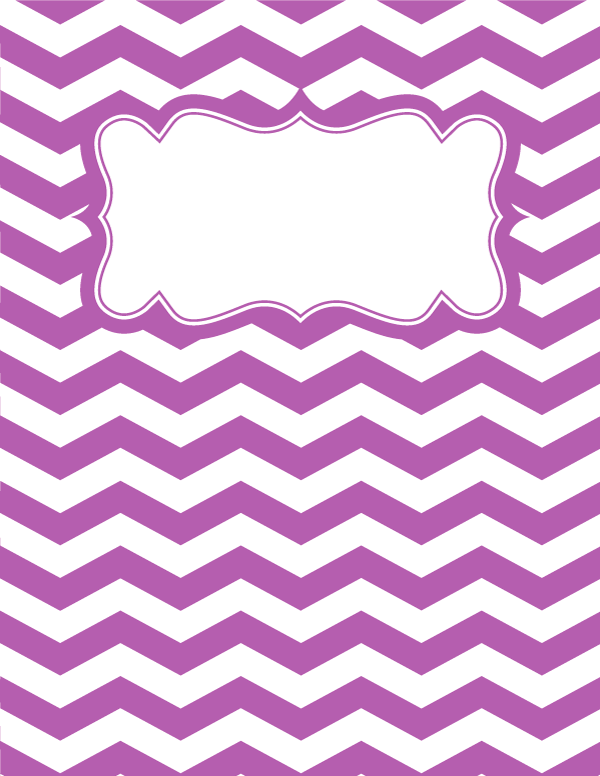 Free printable purple and white chevron binder cover template ...