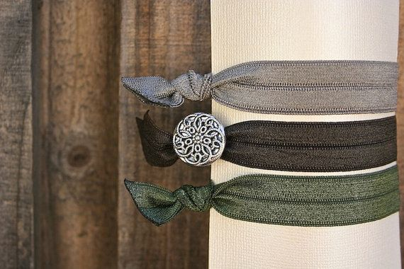 Set of 3 Elastic Hair Ties w/ Silver Mandala Button in Gray, Brown & Army Green #vintagebutton #hairtie #tieituptop
