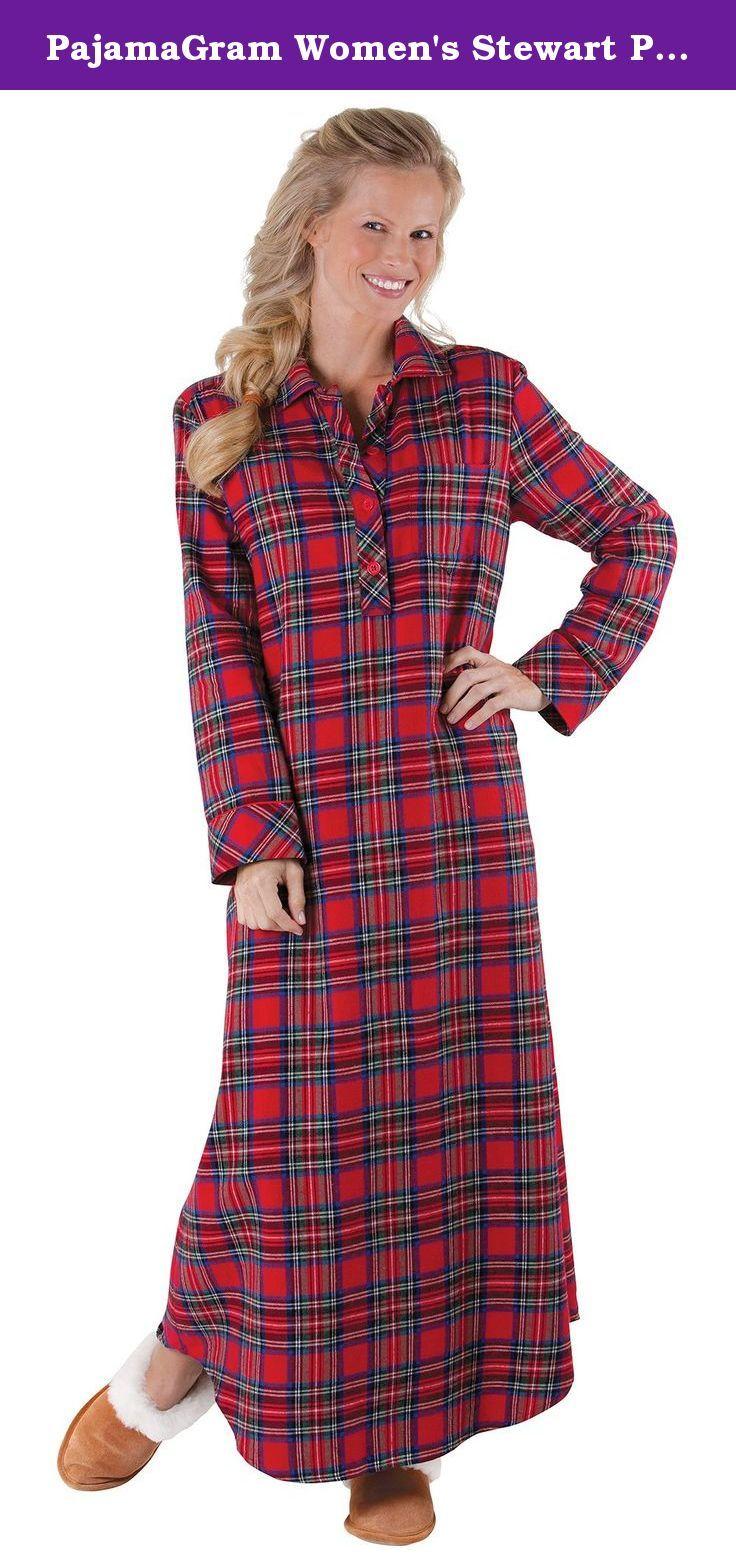 Red flannel pajamas  PajamaGram Womenus Stewart Plaid Cotton Flannel Nightgown XSmall