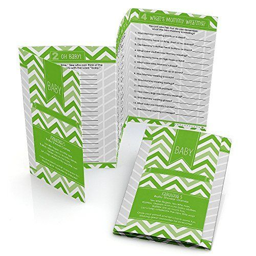 Fabulous 5 Baby Shower Games - Chevron Green - Set of 12  Price : $10.68 http://www.partybycolor.com/Fabulous-Baby-Shower-Games-Chevron/dp/B00LSWLR6A