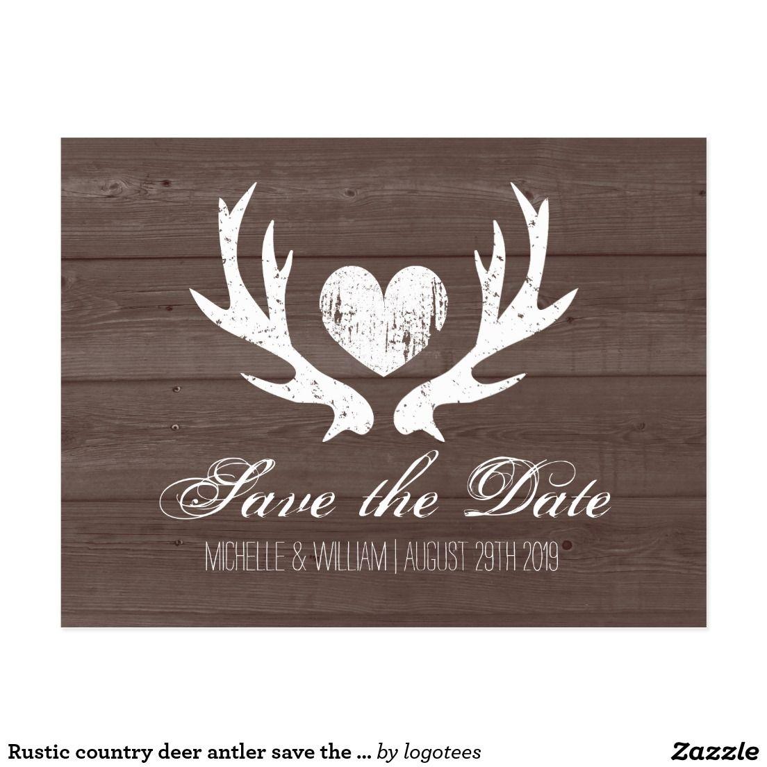 Rustic Country Deer Antler Save The Date Postcards Deer Antlers