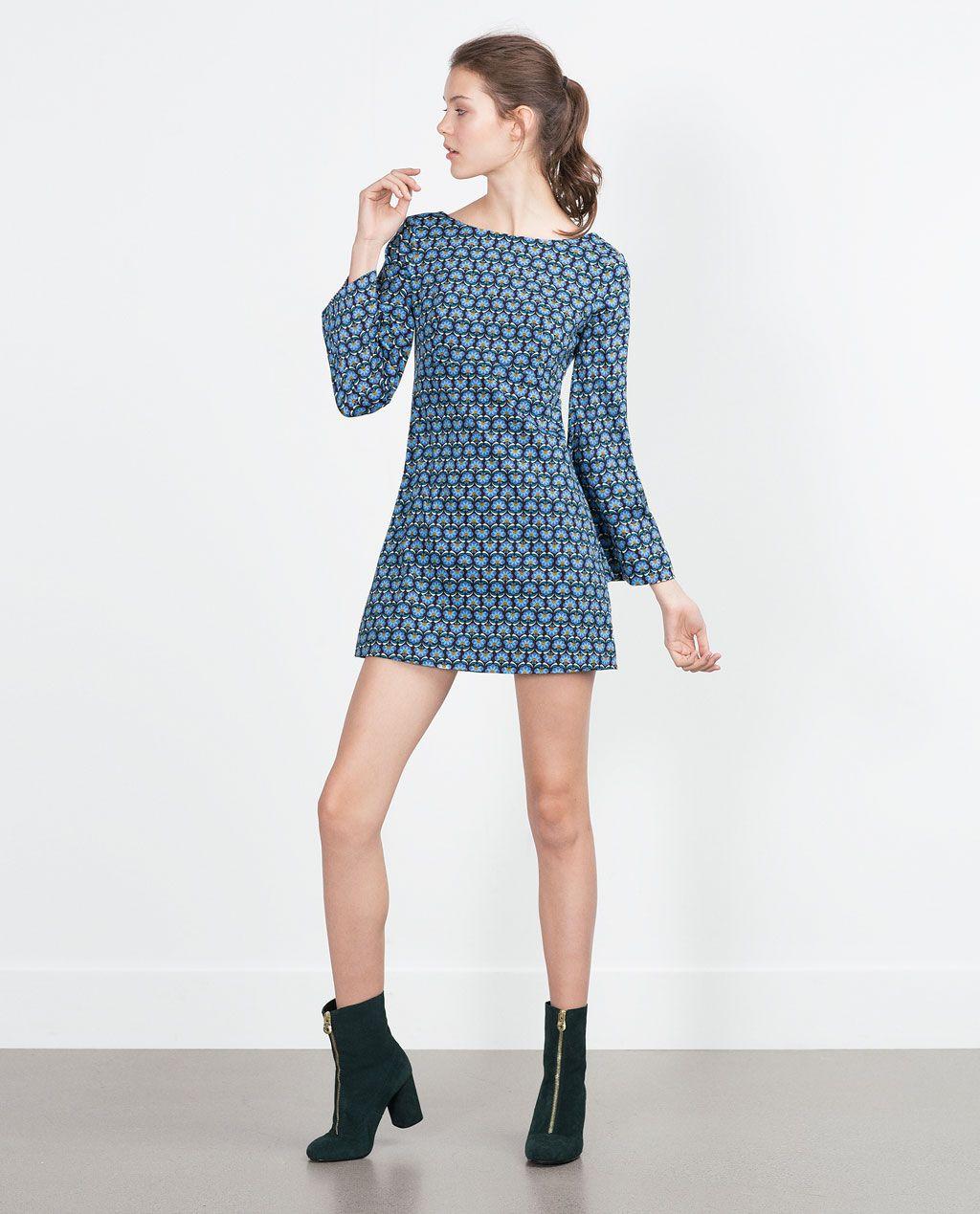 ZARA - KOBIETA - WZORZYSTA SUKIENKA RETRO   Dresses   Pinterest ...