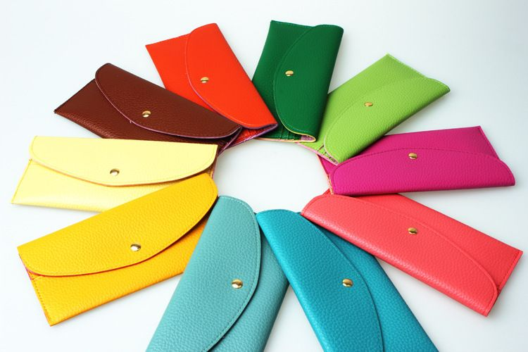Free shipping 2014 candy colors women wallet solid purse new arrival  $8.90