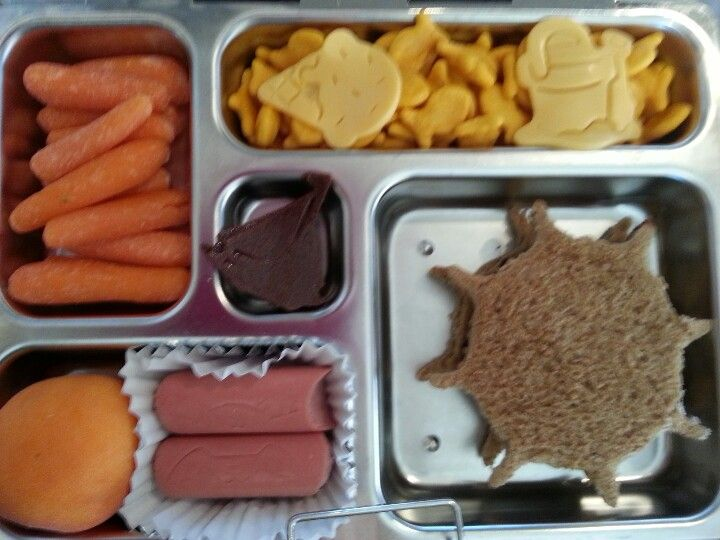 Sun PB, turkey dog kitties,  mini apricot, fruit leather sailboat,  goldfish crackers,  cheese ice cream and sand bucket with shovel,  and carrots