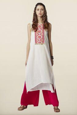 f9a01a1ca9b Global Desi Cream Embroidered Cotton Kurta | Palazzo Pants | Kurti ...