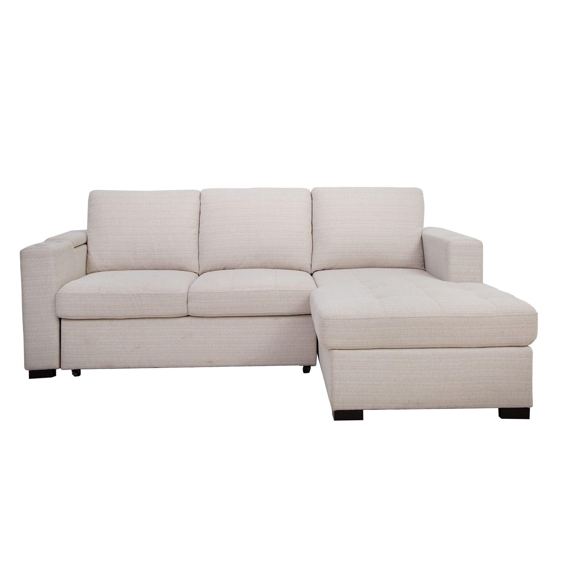 Luigi 2 Piece Cream Sleeper Sofa Chaise Weekends Only Furniture In 2020 Chaise Sofa Sleeper Sofa Chaise