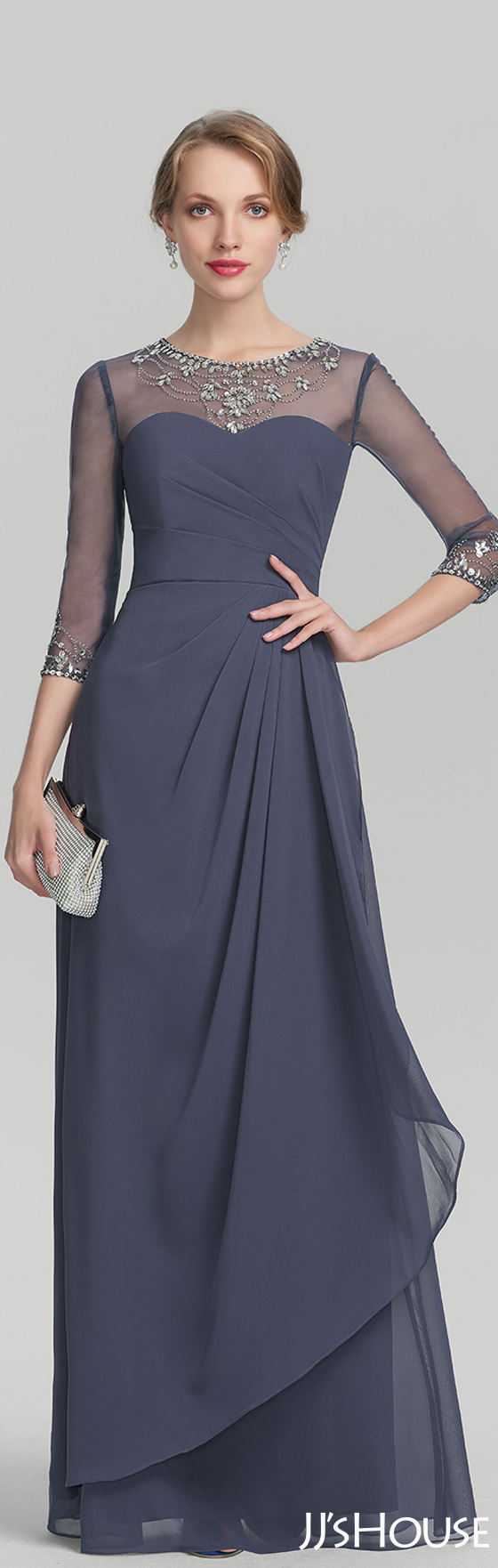 A-Line/Princess Scoop Neck Floor-Length Chiffon Mother of the Bride ...