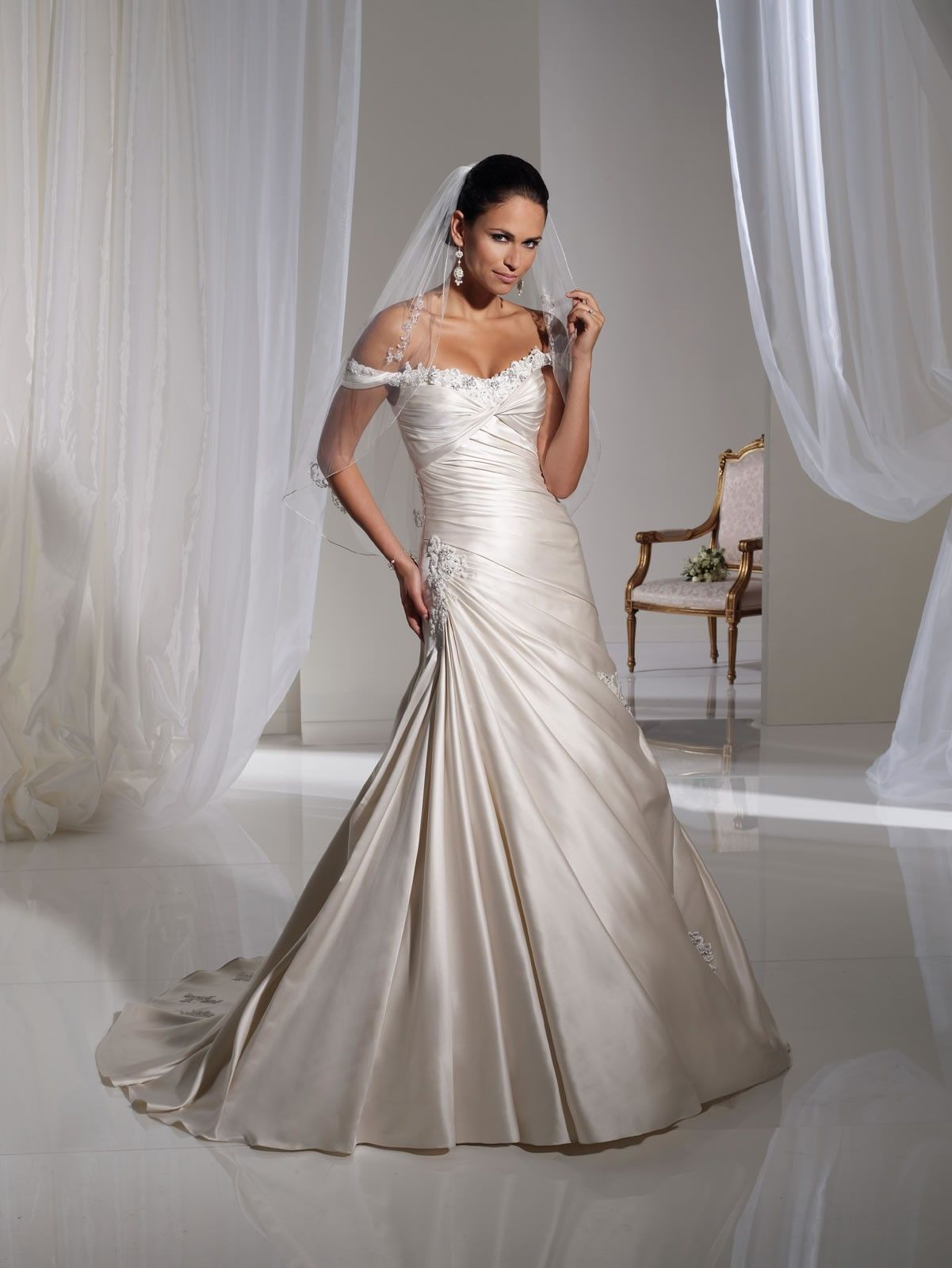 Paris satin gorgeous offtheshoulder neckline aline wedding dress