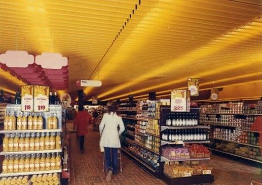 Early 1970s Vintage Grocery Store Interior.