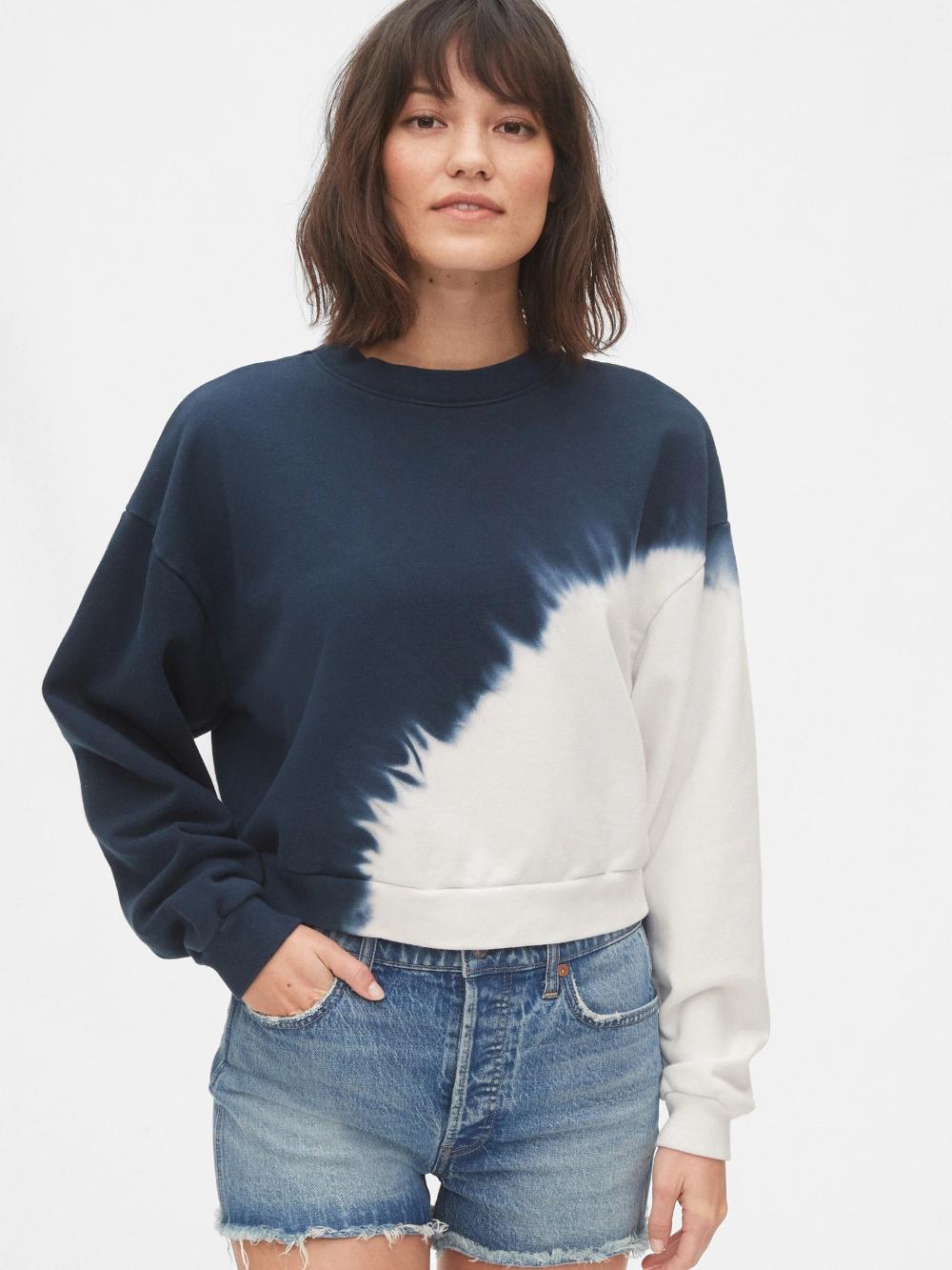 Pullover Sweatshirt In French Terry Gap Collar Shirt Under Sweatshirt Fashion Tie Dye Print [ 1333 x 1000 Pixel ]