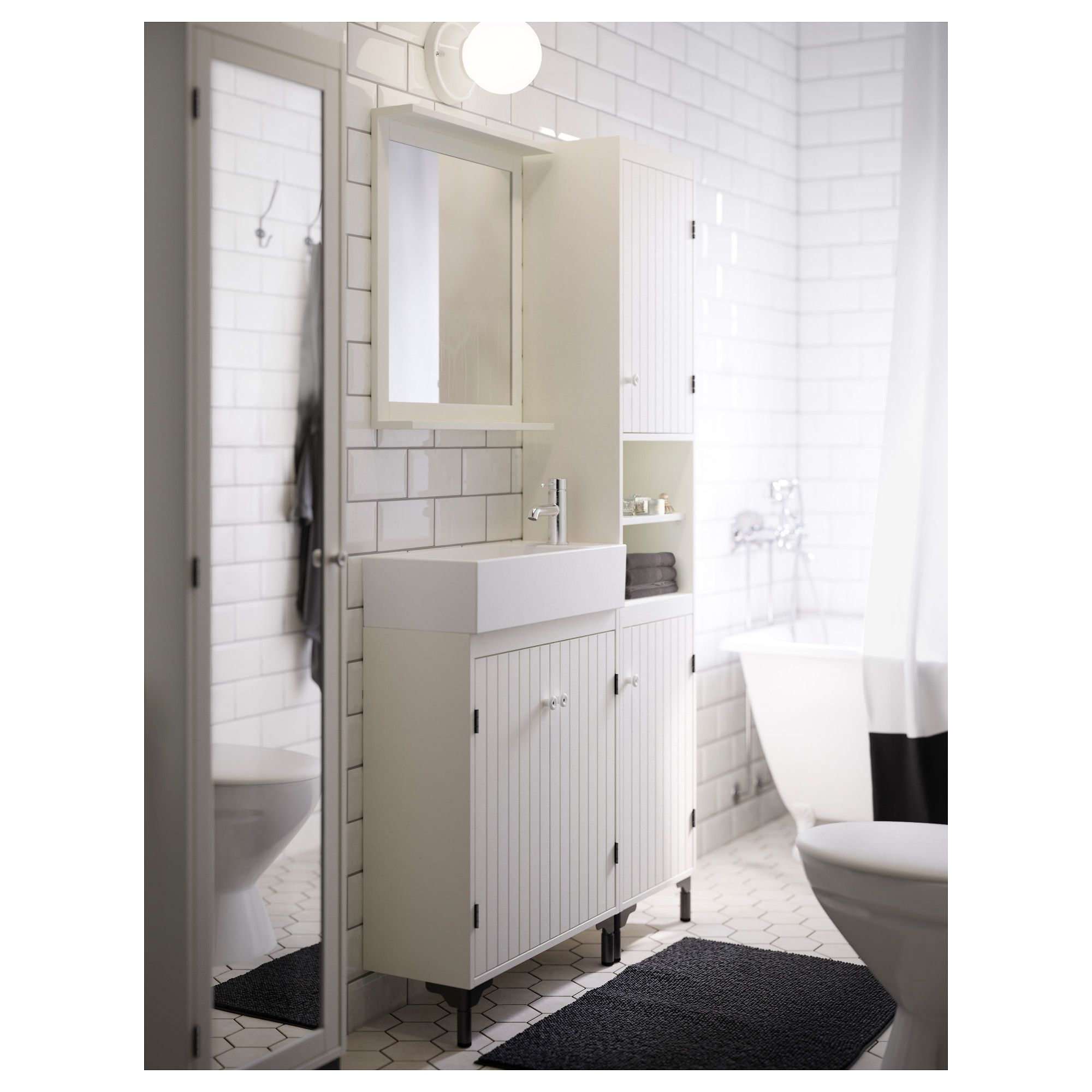 SILVERÅN High cabinet with 2 doors, white | Pinterest | Sinks, Doors ...