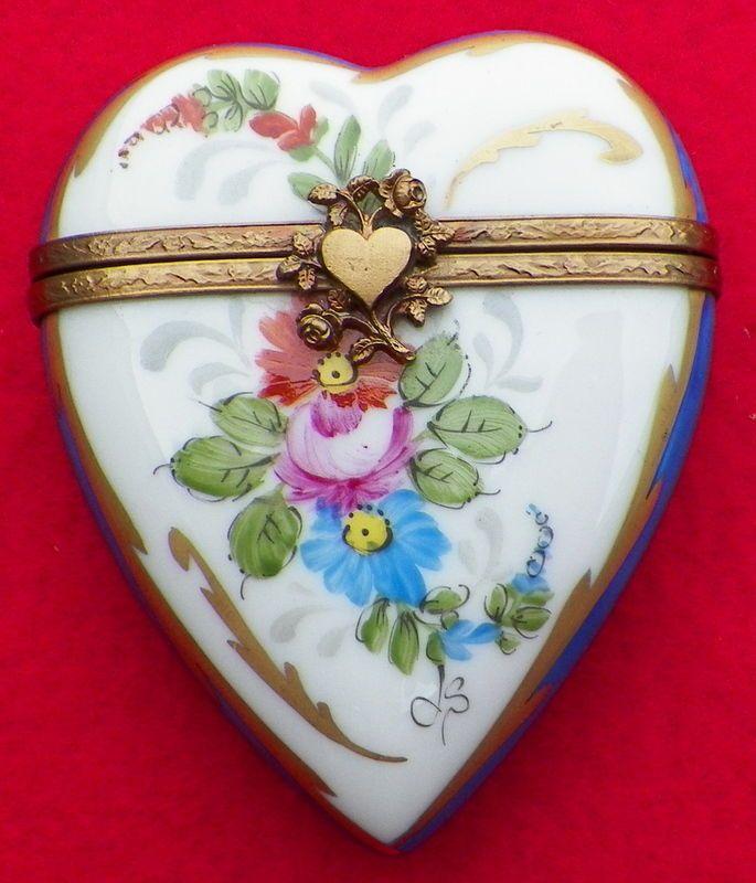 Gold Trim Heart Trinket Dish Rochard Limoges France Pink Floral Rose