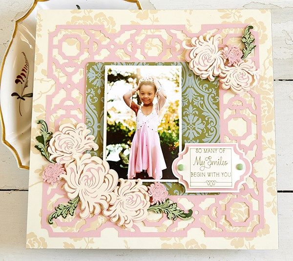 Garden Mums scrapbook page layout by Anna Griffin. Make It Now with the Cricut Explore machine in Cricut Design Space.